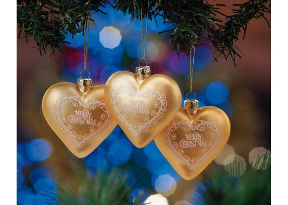 Set 3 decorazioni in vetro mod. cuore-ass. 6 colori-cm. 7,5 x 8