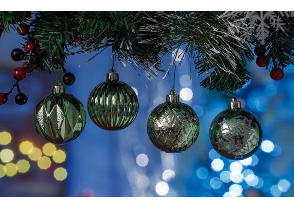 Set 4 palline di Natale tiffany in plastica con espositore da 27 set-ass. 4 modelli-diam. cm. 6